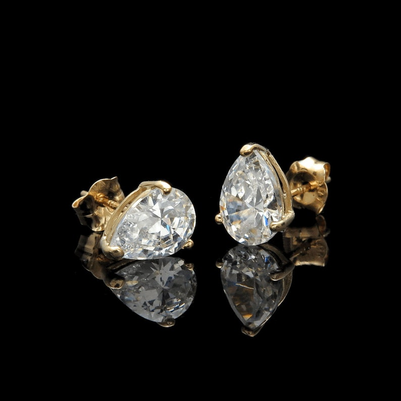 3739a6d40 1ct Pear Shape Created Diamond Earrings Studs 14K Yellow Gold | Etsy