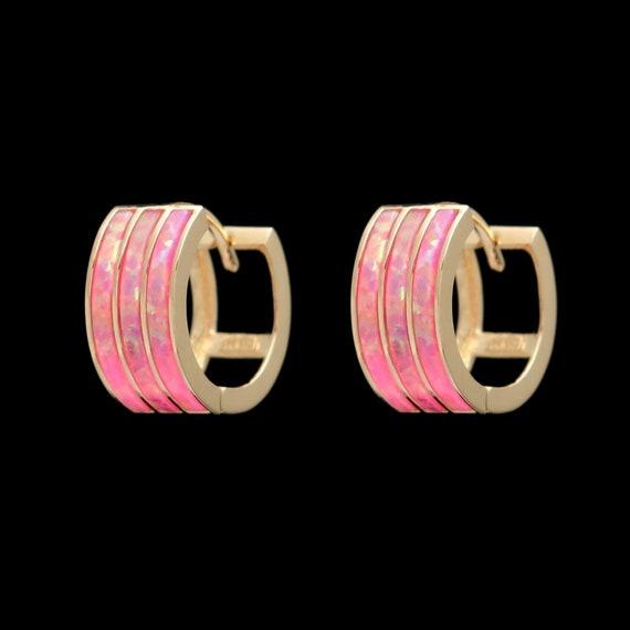 Stunning Fire Opal Huggie Earrings Solid 14K Yellow Gold 3-Row Inlay