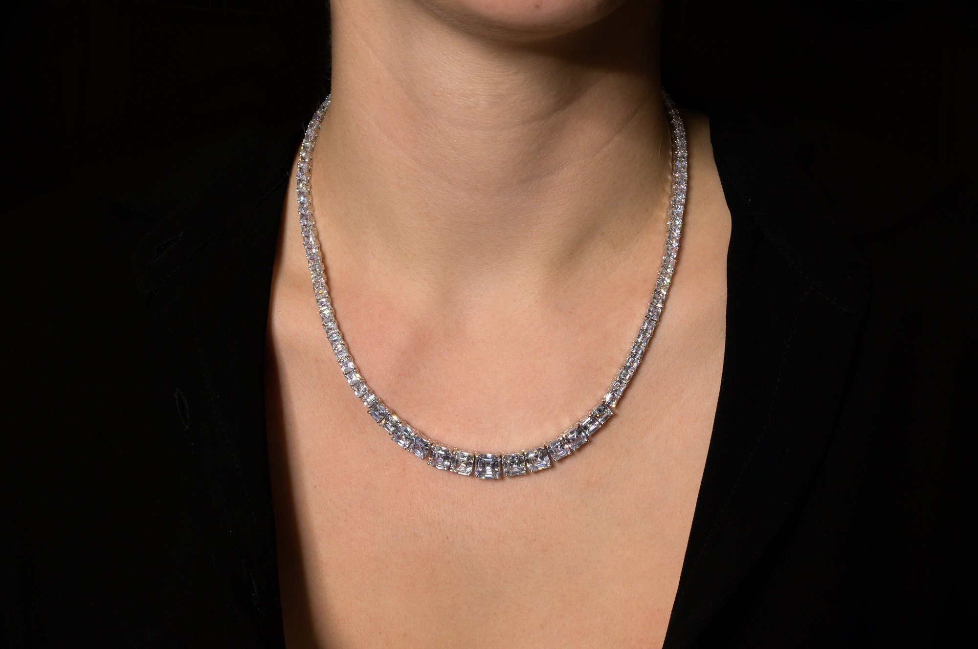 """By Yard Station Necklace 3.00tcw Created Diamond 14k White Gold Bezel Chain 16/"""""""