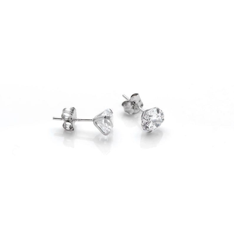 0.25CT Round Created Diamond Butterfly Stud Earrings 14k White Gold Screwback