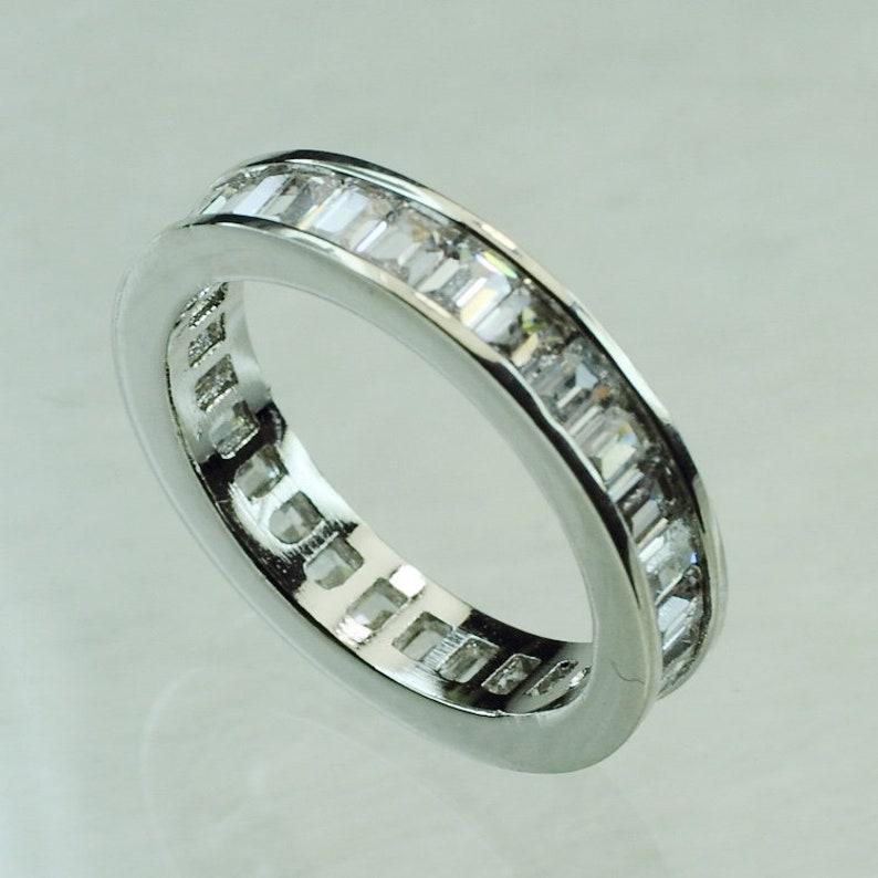 ID:R0910 Women Vintage Jewelry 18K White Gold GF Stunning Engagement Wedding Bridal Diamonique Eternity Band Ring