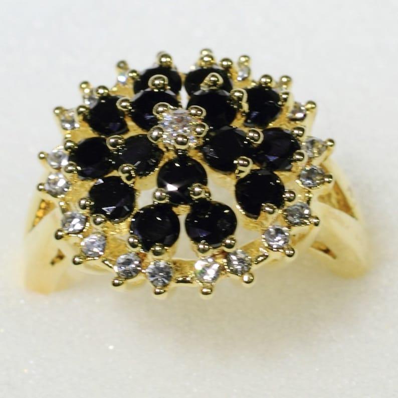 ID:R4717 Women 18K Yellow Gold GF\u00a0Fashion Jewelry Charming Black and Clear Gemstones Ring Comfortable Daily Wear\u00a0