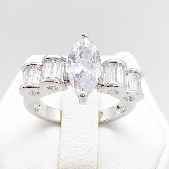 ID:R4184 Women 18K White Gold GF Fashion Jewelry Expensive-looking Engagement Wedding Ring Anniversary Promise Gift