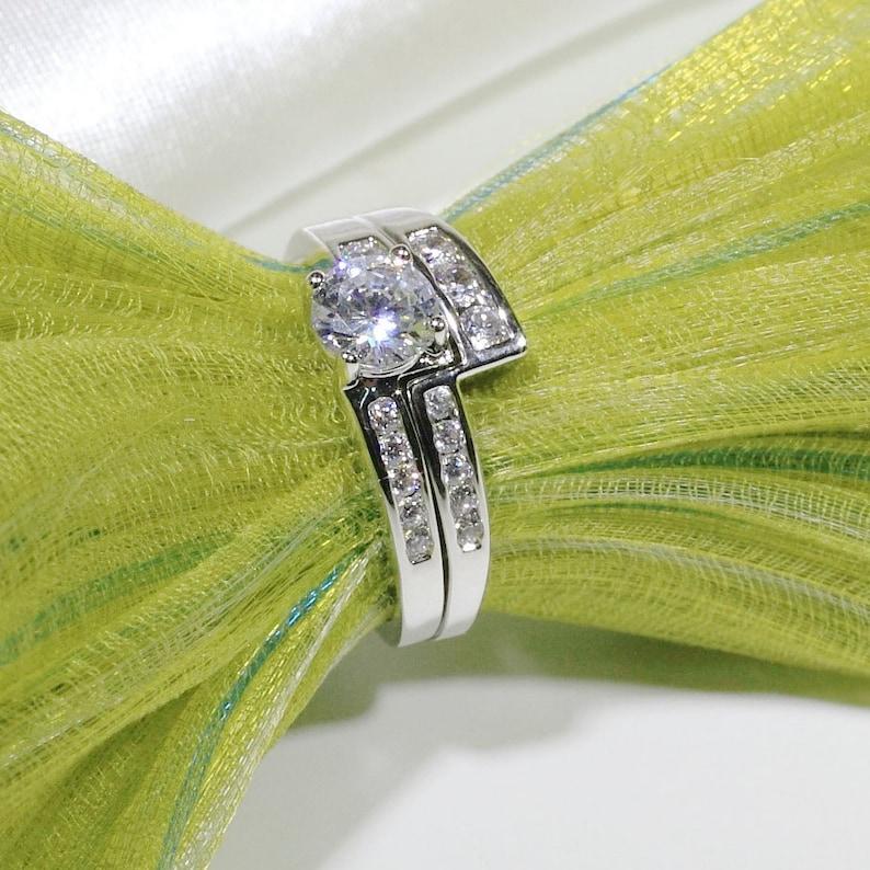 ID:R3129 Women 18K White Gold GF Vintage Jewelry Brilliant Engagement Wedding Bridal Diamonique Band Ring 2pcsSet
