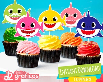 5 cupcake toppers Baby Shark Birthday INSTANT DOWNLOAD, digital printable PDF file included
