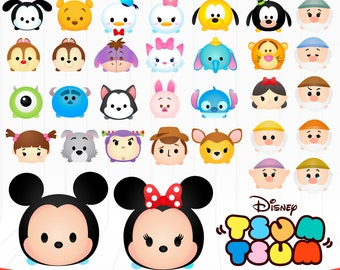 Disney Tsum Tsum Character .ai .eps files, images .PNG and SVG Siluetas Complete collection handcrafted in scalable format