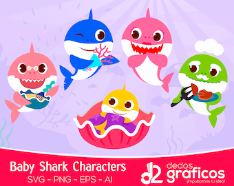 5 Baby Shark Vol2 Mommy Shark Character SVG and images .PNG  .ai .eps files,  Siluetas Complete Sea Clipart handcrafted in scalable format
