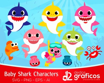 10 Baby Shark Character SVG and images .PNG  .ai .eps files,  Siluetas Complete collection Sea Clipart handcrafted in scalable format