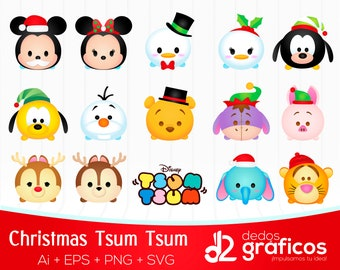 Tsum Tsum Character Christmas SVG, images .PNG, EPS files and Adobe Illustrator Complete collection handcrafted in scalable format