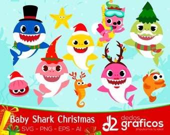10 Christmas Baby Shark  Character SVG and images .PNG  .ai .eps files,  Complete collection Sea Clipart Xmas in scalable format