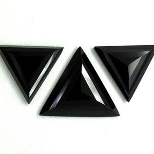 Triangle 3 Pieces Set Gemstone Natural Black Onyx Gemstone AAA Quality Set Gemstone Cabochon Faceted Rose Cut Gemstone Sale