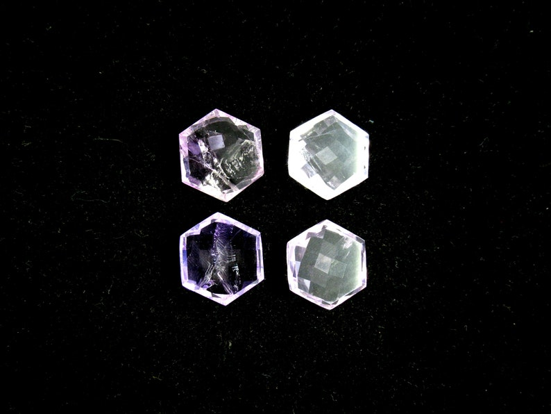 Natural Amethyst Gemstone Hexagon Cabochons Faceted 4 Pieces Set Loose Jewelry Making Stone