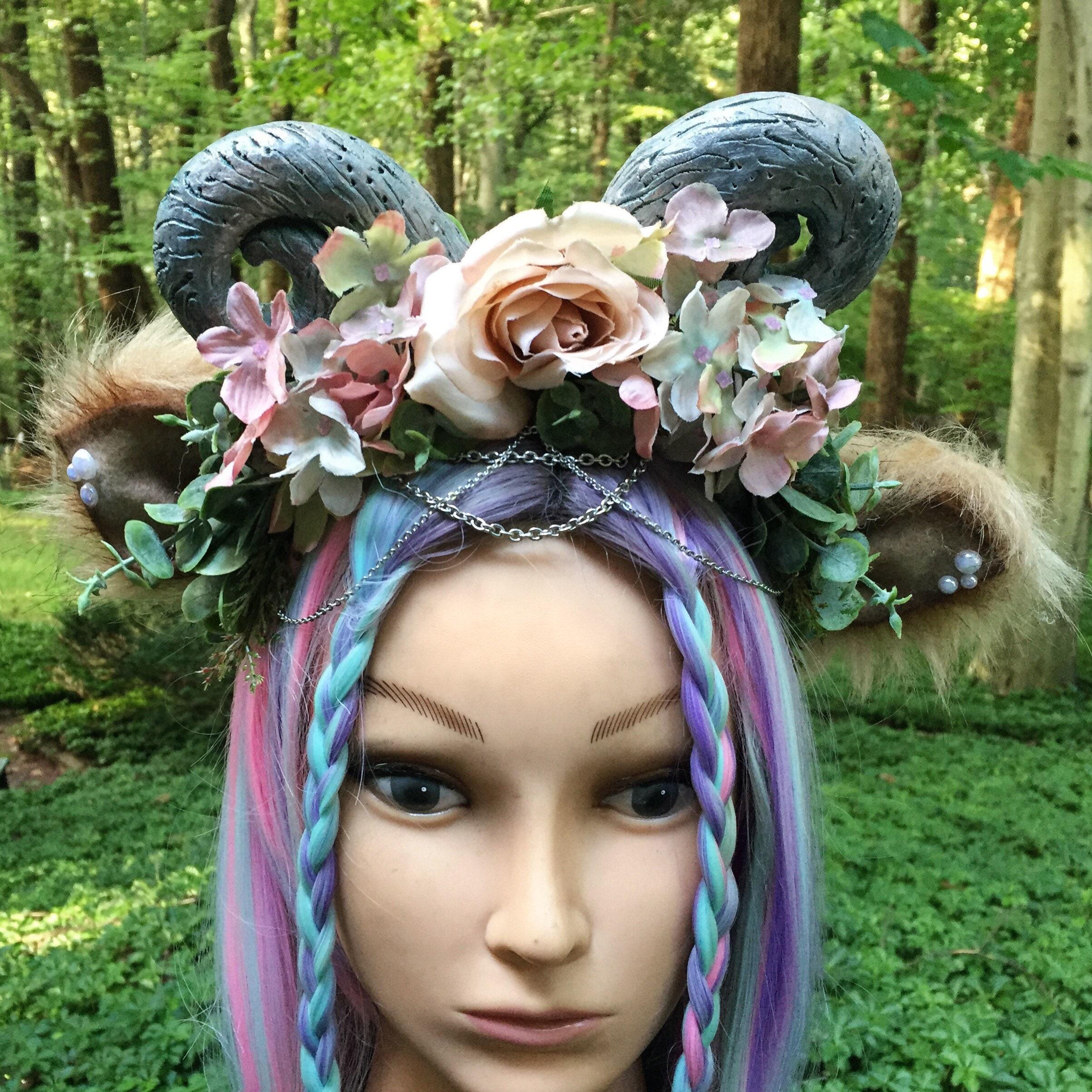 Demon Horn Fairy Woodland Flower Crown Festival Etsy