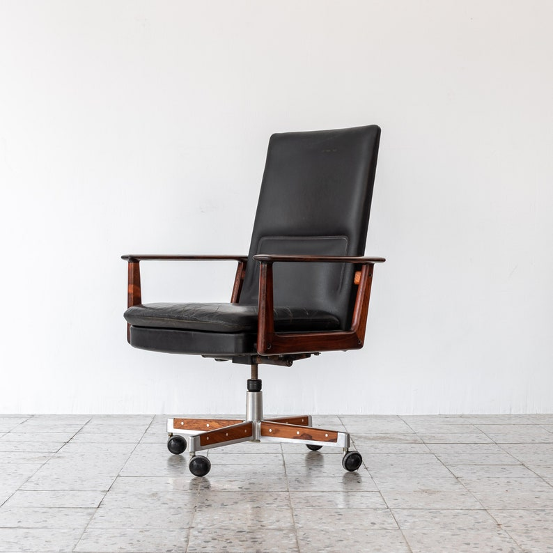 Rosewood /& Leather Executive Office Chair by Arne Vodder for Sibast 1960 Denmark