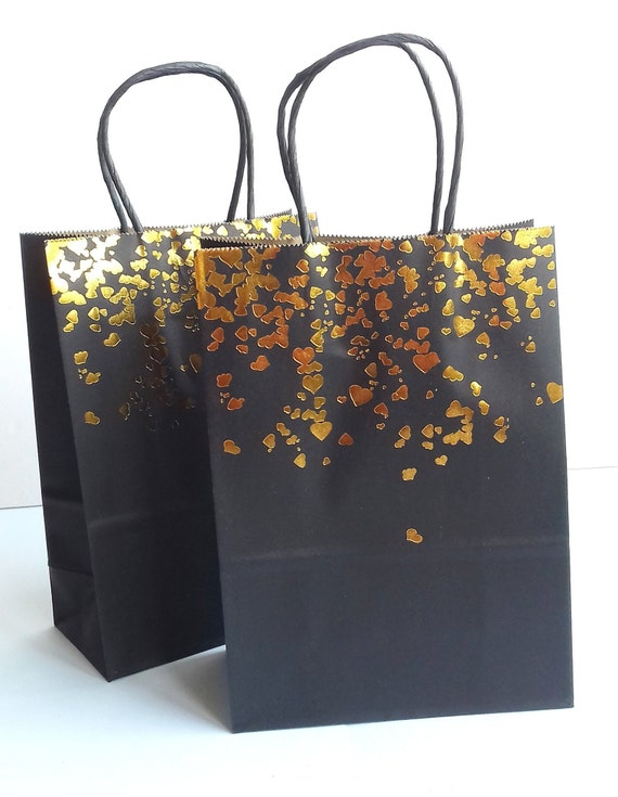 25 x Black Paper Bags with Twisted Handle 18cm x 22cm x 8cm SMALL