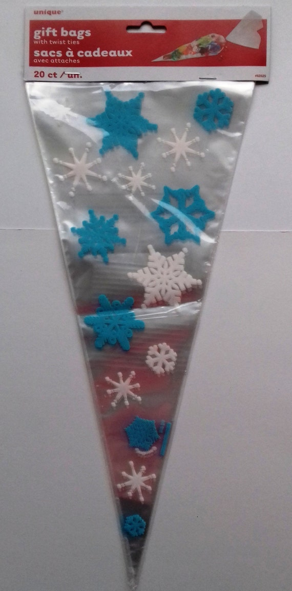 Snowflake Cellophane Party Cone Bags Party Favour Cone Bag Frozen Blue White Snowflake Party Cone Treat Bag Christmas Snowflake Pack 20