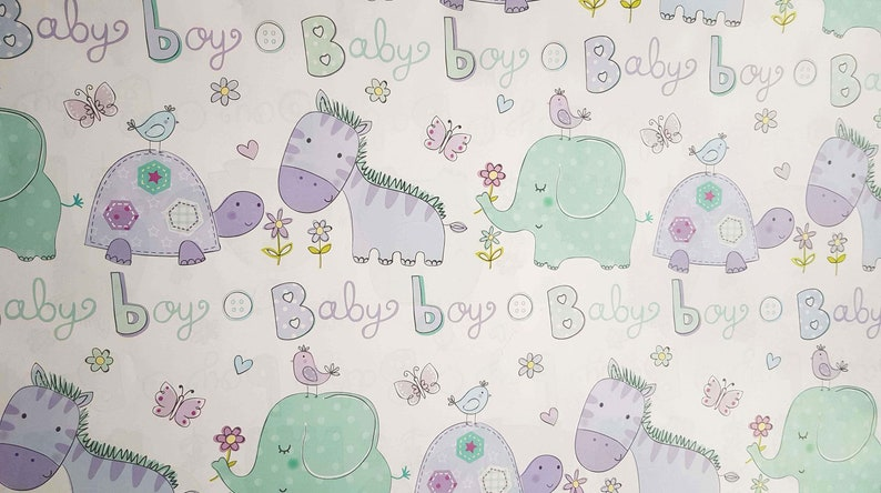 Baby Boy Gift Wrapping Paper Birthday Wrap Cute Animals Sheets