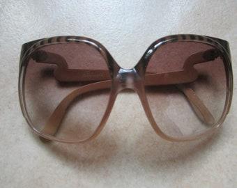 c527f5ed7fc2 huge, brown striped true 1970s italian Riccardo Polinelli, Milan, designer  sunglasses, 1970er Jahre Sonnenbrille, occiali da sole anni 70