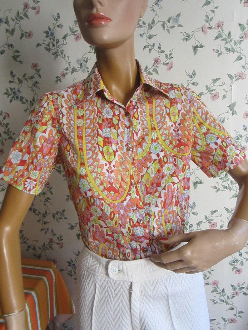 original 70s blouse 1970s shirt fancy design size SM vintage