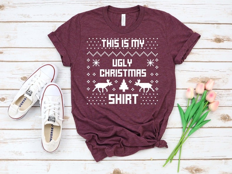 Chrismas Tee with Sweater Print Christmas Vintage Retro T-shirt Unisex This is My Ugly Christmas Shirt Cute Christmas Eve Gift Idea