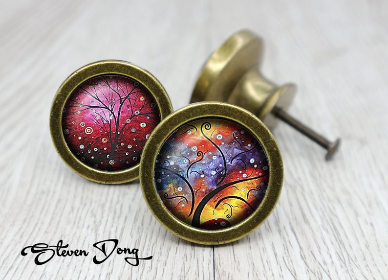 Irises  Retro Bronze Dresser Knobs  Cabinet Knobs  Furniture Knobs  5 Colors to Choose  Customized