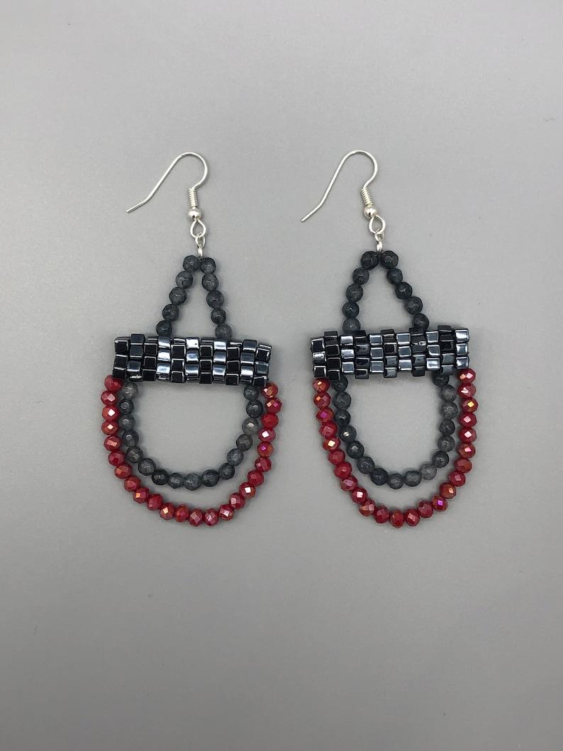Chandelier Earrings Handmade Beaded Gray Lolite and Red Drop Earrings Gunmetal earrings.