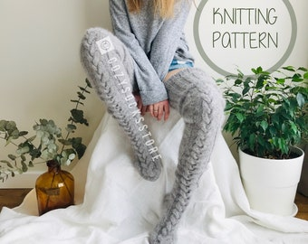 Knitting pattern Thigh higs socks plus size Cable knit socks Instant Download PDF Beginner knitting DIY knitting Fuzzy socks Easy knitting