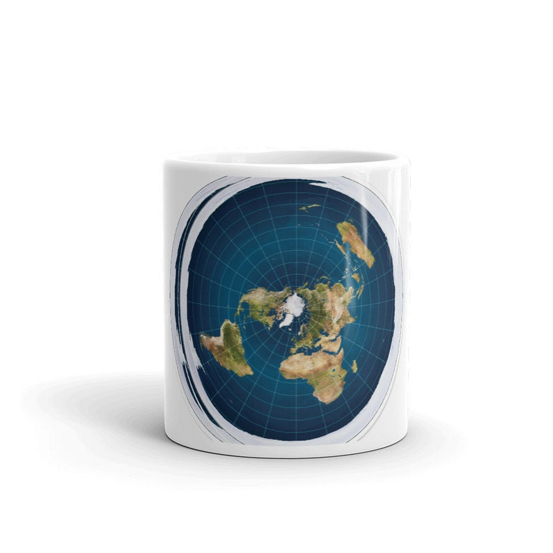 Azimuthal Equidistant Flat Earth Mug - World Map - New Standard Map - Flat  Earth Society - Conspiracy Theory