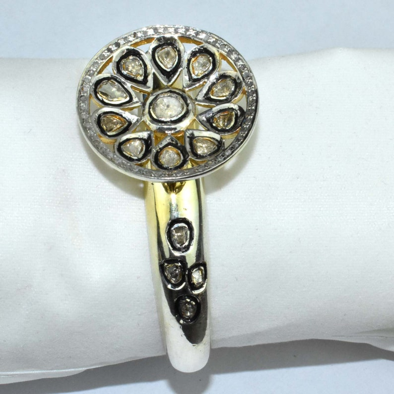 Victorian Ring Polki Jewelry Adjustable 925 Sterling Silver JUewelry Polki Diamond Flower Ring Polki Ring Diamond Ring Statement Ring