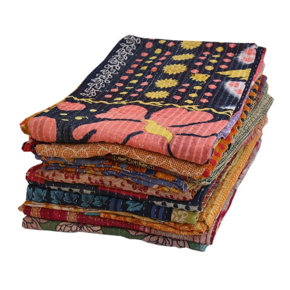 10 Pc Lot Vintage kantha Quilts Reversible Bed Cover Wholesale Lot Blanket Throw