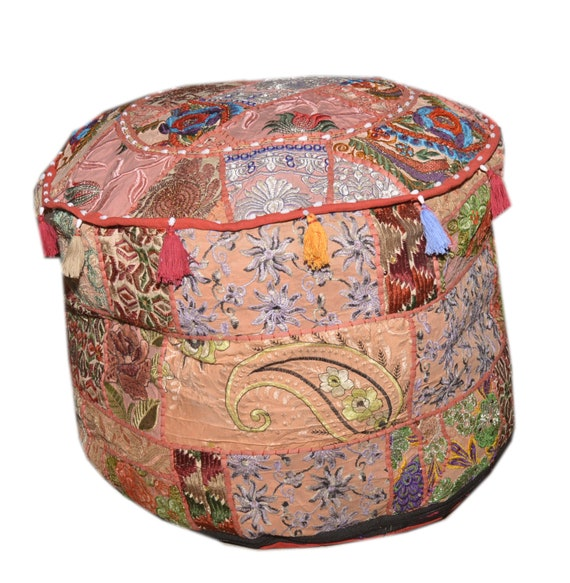 Foot Stool Round Ottoman Cover Pouf,Traditional Handmade Decorative Patchwork Ottoman Cover,Indian Home Decor Cotton Cushion Ottoman Cover 18x15 inche Mahrron Indian Living Room Pouf