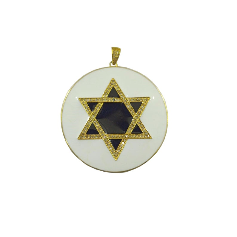 Star of David Pendant Diamond Pave Round Disc Star Motif Pendant PN-1776 925 Sterling Silver Ivory Enamel Pendant Jewelry