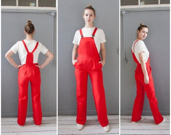 f1e5ff6332cd Vintage 70s Overalls Womens S Red Bib Overalls High Waisted Dungarees Mens  XS Wide Leg Overalls Small Red Jumpsuit Strapped Romper Pants 28