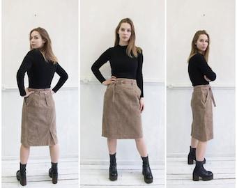 b115d2f138 Vintage Corduroy Skirt S 90s High Waisted Corduroy Skirt 28 Brown Gray  Cordury Pencil Skirt High Waist 28 Corduroy Over Knee Shift Skirt S