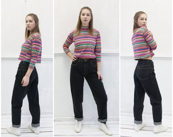 62826625238 Vintage 90s Boyfriend Jeans High Waisted Jeans Womens S 29 Black Baggy Jeans  Tapered Leg High Rise Denim Pants High Waist 29 90s Mens Jeans