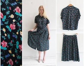 ca0329d5 Vintage Boho Co-ord Womens M L Ditzy Floral Print Blouse Circle Skirt Set  Matching Summer Two Piece Set Womens Black 90s Bohemian Twin Set M