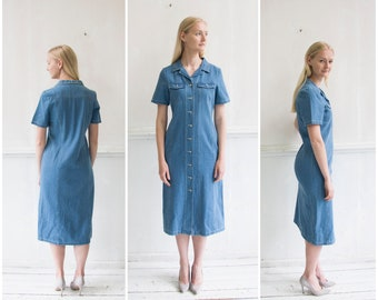 d6da8659035 Vintage Denim Dress S M Jean Maxi Dress 90s Denim Button Down Dress Light  Wash Denim Dress Short Sleeve Denim Dress Jean Summer Midi Dress M