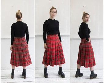 71001dc731 Vintage Tartan Skirt XS Red Pleated Plaid Skirt 27 Tartan A Line Midi Skirt  Checked Pleated Skirt Tartan Kilt Skirt High Waisted Plaid Skirt
