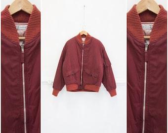 c9776a91e02 Vintage veste des années 90 Bomber veste Womens M L Bordeaux Bomber Jacket  Mens M L Dark Bomber rouge Veste hiver Oversize Bomber blouson M L