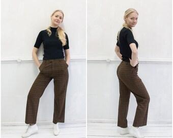 9ef54b4775 Vintage 90s Plaid Pants Checked Mom Pants 30 Womens M High Waisted Plaid  Trousers Black Brown Check Tartan Pants High Waist 30 Plaid Slacks