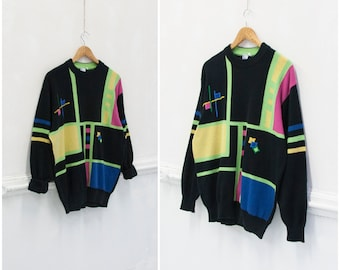 4257ef8079e02f Vintage 80s Ugly Sweater Womens M L Neon Top Mens S Patterned Jumper Black  80s Geometric Sweater Oversize Rainbow Color Top 1980s Jumper S M