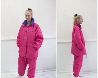 e2199bac Vintage 80s Ski Suit Two Piece Ski Suit Retro Snow Suit Womens XL Skiing  Costume Pink Ski Jacket Ski Pants Snowboard Suit 90s Ski Suit XL