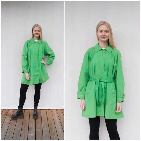Vintage Green Jacket Women XL 90s Green Coat with