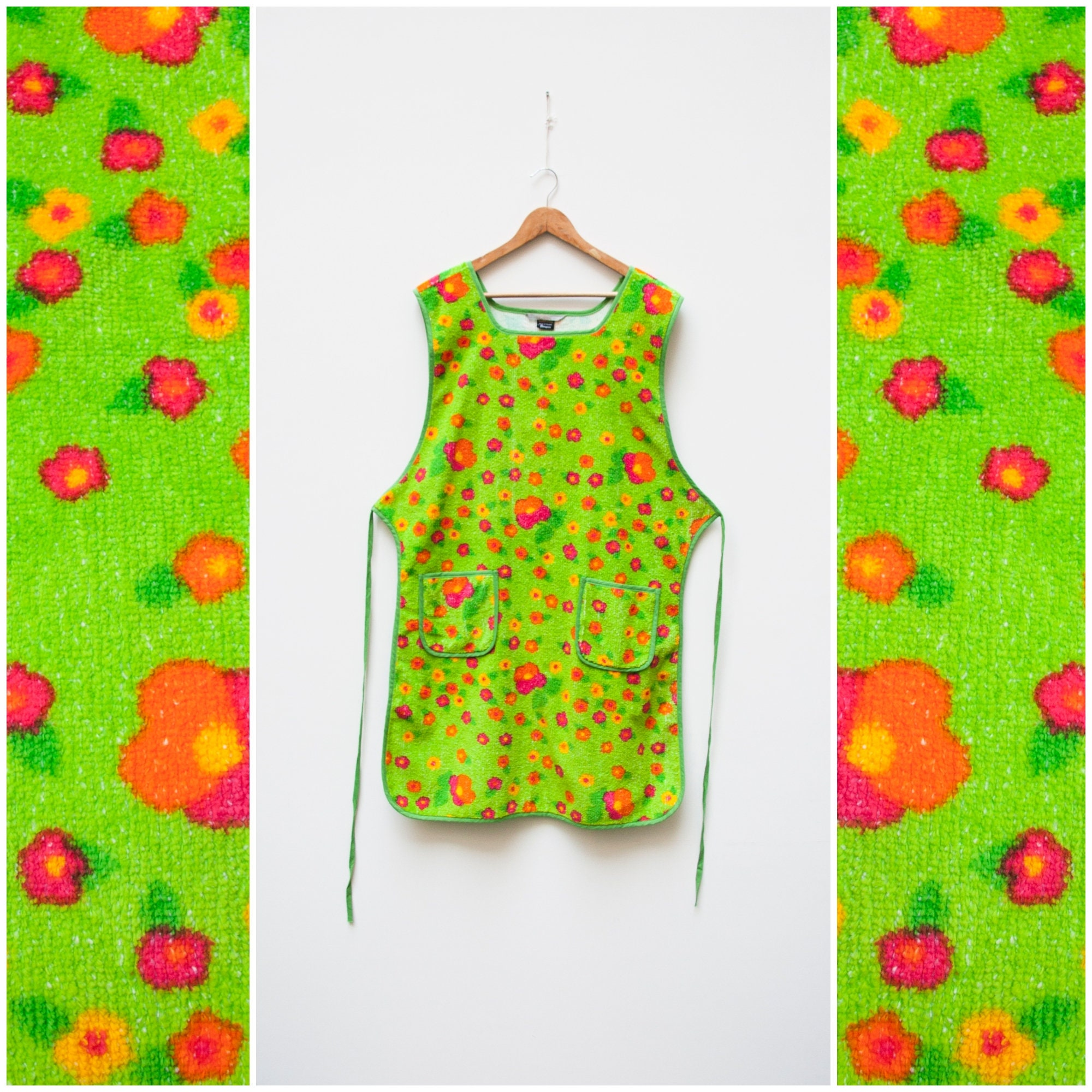 Vintage Aprons, Retro Aprons, Old Fashioned Aprons & Patterns Vintage Apron 70S House Robe Women 60S Housewife Neon Floral Print Green Overalls Homewear Retro Dress S M $58.02 AT vintagedancer.com