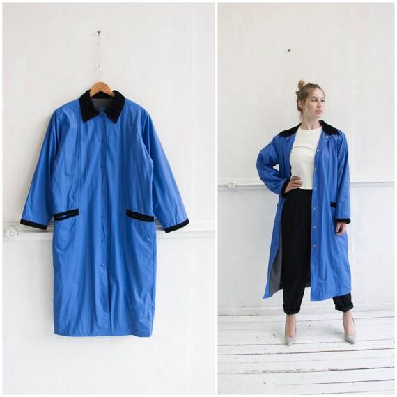 80s Raincoat Womens L Vintage Oversize Coat Large