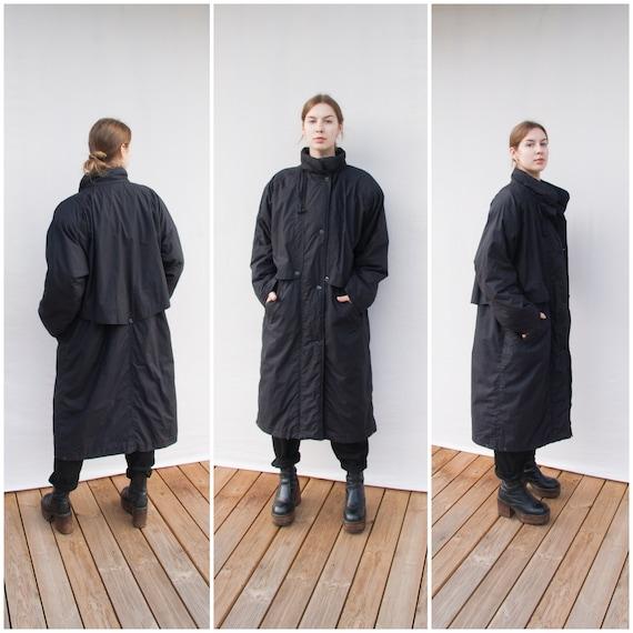 Puffer Coat Women Large 80s Winter Coat Black Over