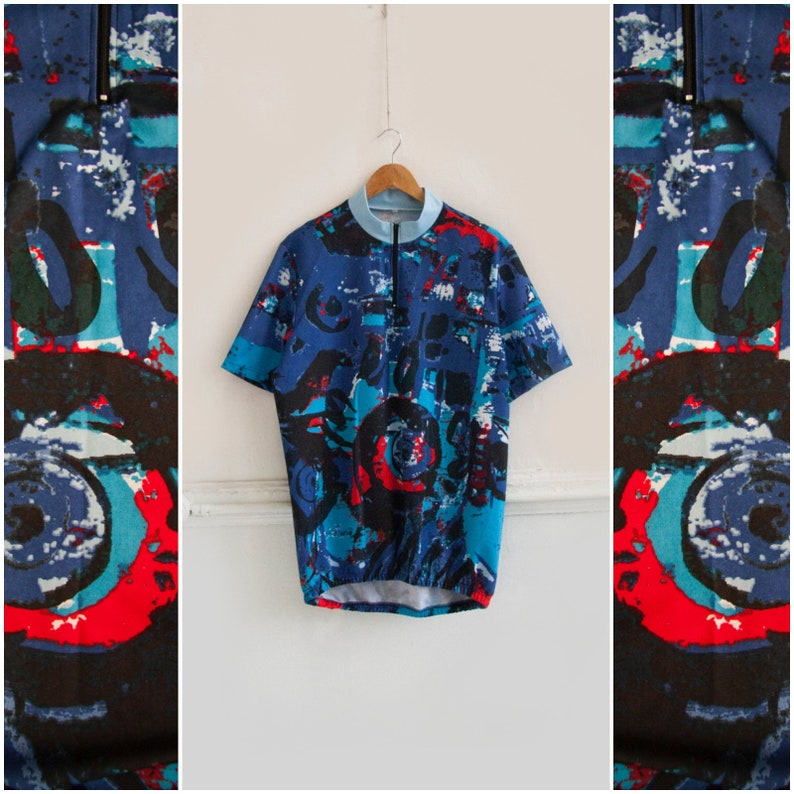 Vintage Cycling Jersey Abstract Cycling Top Womens XL Riding Jersey Colorful Bike Riding Top Mens L Retro Cycling Top Road Bike Clothing L