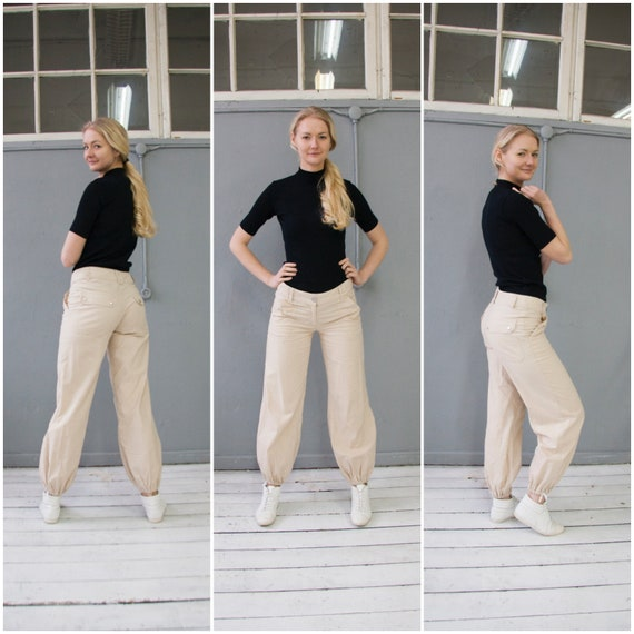2019 wholesale price utterly stylish factory authentic Vintage Linen Pants Low Rise Linen Trousers Womens M Nude Baggy Pants Low  Waist 32 Beige Linen Hippie Pants 70s Style Nude Trousers W32