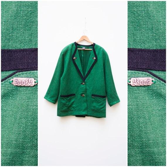 Linen Jacket Women Large Vintage Green Linen Jack… - image 2