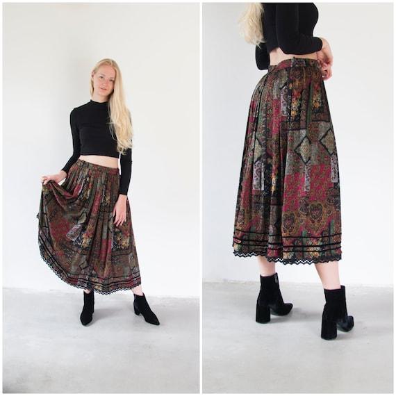 Vintage Boho Skirt Small Medium Gypsy Skirt Dark … - image 2